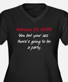 Leap Day Party Women's Plus Size V-Neck Dark T-Shi
