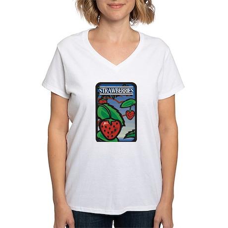 Strawberries Women's V-Neck T-Shirt