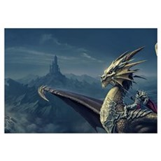 Warrior Riding Dragon Framed Print