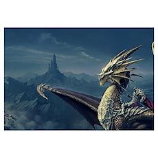 Warrior Riding Dragon Poster