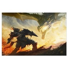 Warrior Fighting Dragon Framed Print