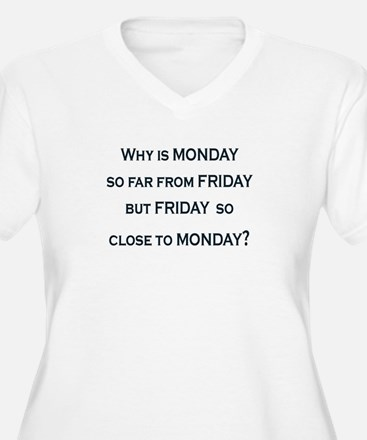 WHY IS MONDAY SO CLOSE TO FRIDAY Plus Size T-Shirt