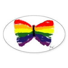 Artistic Gay Pride Butterfly Oval Decal