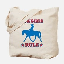 Red & Blue Cowgirls Rule Tote Bag