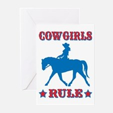 Red & Blue Cowgirls Rule Greeting Cards (Pk of 10)