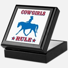 Red & Blue Cowgirls Rule Keepsake Box