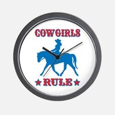 Red & Blue Cowgirls Rule Wall Clock