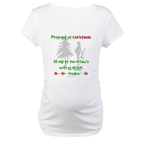 funny snarky pregnant at christmas shirt