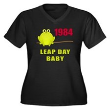 1984 Leap Year Baby Women's Plus Size V-Neck Dark
