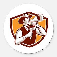 Cowboy Auctioneer Bullhorn Gavel Shield Round Car