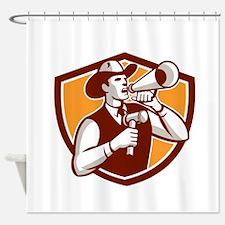 Cowboy Auctioneer Bullhorn Gavel Shield Shower Cur