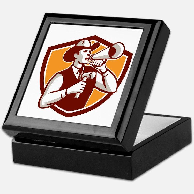 Cowboy Auctioneer Bullhorn Gavel Shield Keepsake B