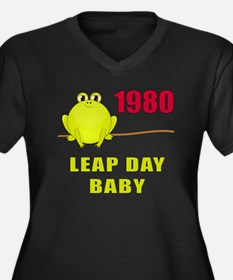 1980 Leap Year Baby Women's Plus Size V-Neck Dark