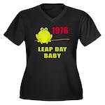 1976 Leap Year Baby Women's Plus Size V-Neck Dark