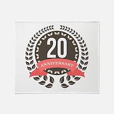 20 Years Anniversary Laurel Badge Throw Blanket