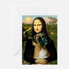 Mona Lisa & Boxer Greeting Card