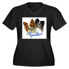 papillon-1 Women's Plus Size V-Neck Dark T-Shirt