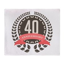 40 Years Anniversary Laurel Badge Throw Blanket
