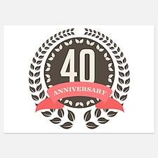 40 Years Anniversary Laurel Badge Invitations