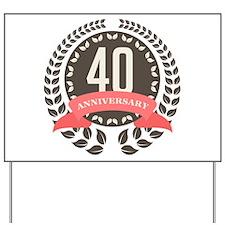 40 Years Anniversary Laurel Badge Yard Sign