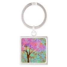 Whimsical Pink Tree Square Keychain