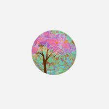 Whimsical Pink Tree Mini Button