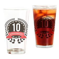 10 Years Anniversary Laurel Badge Drinking Glass