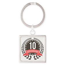 10 Years Anniversary Laurel Badge Square Keychain