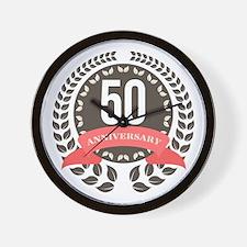 50 Years Anniversary Laurel Badge Wall Clock