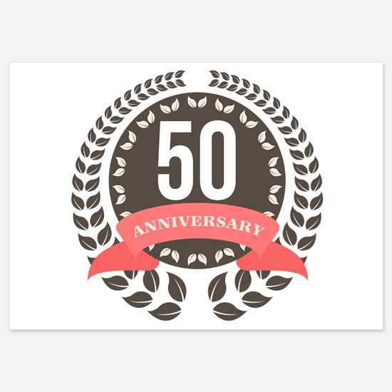 50 Years Anniversary Laurel Badge 5x7 Flat Cards