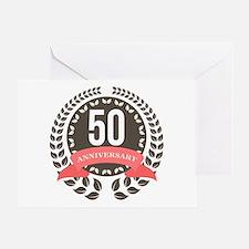 50 Years Anniversary Laurel Badge Greeting Card