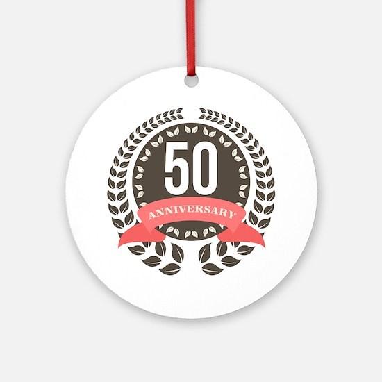 50 Years Anniversary Laurel Badge Ornament (Round)