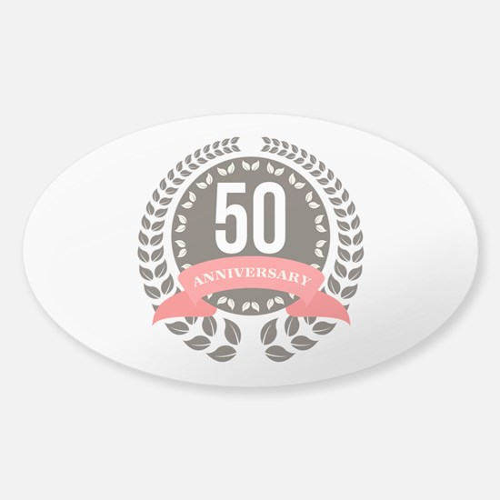 50 Years Anniversary Laurel B Sticker (Oval 10 pk)