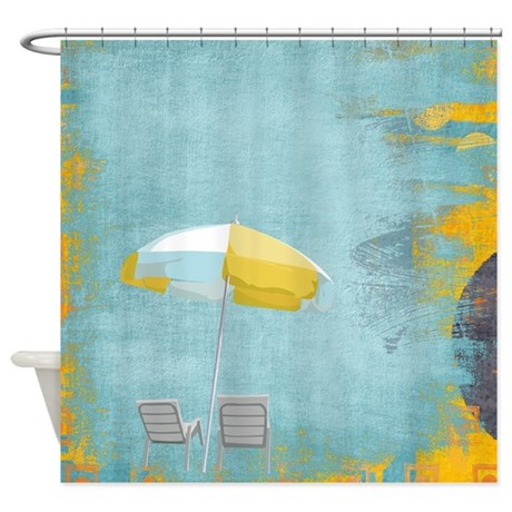 Yellow And White Umbrella Shower Curtain by