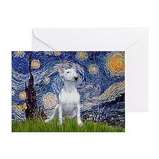 Starry Night/Bull Terrier Greeting Card