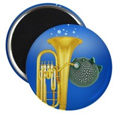 Puffer Fish Playing Tuba Magnets