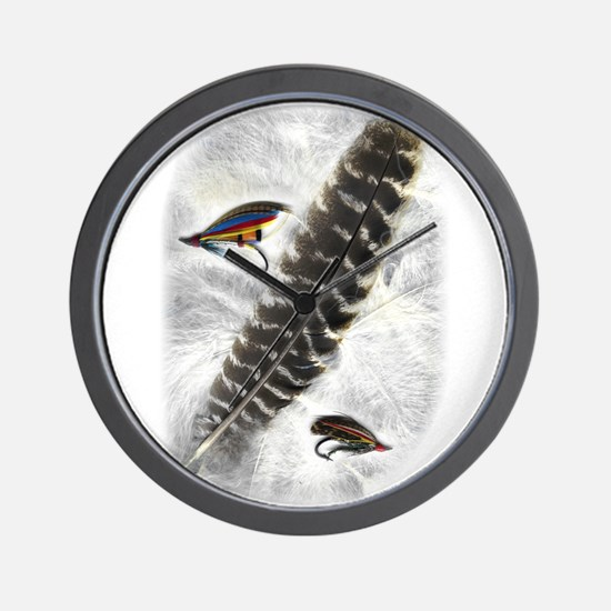 Flies on Feathers Wall Clock