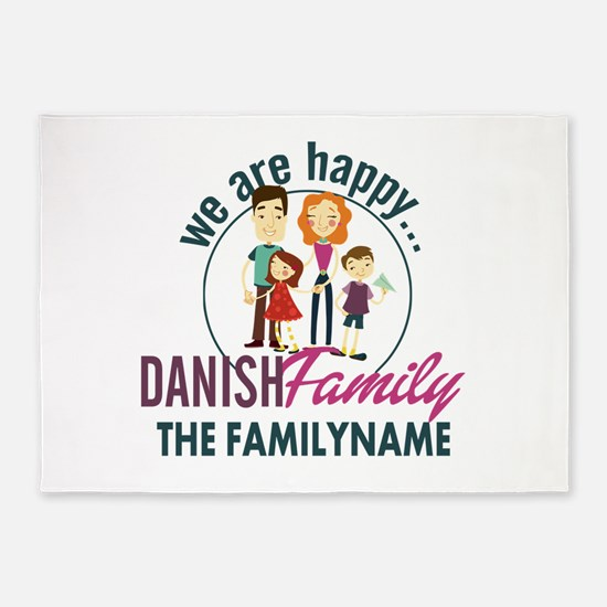 Personalized Happy Danish Family 5'x7'Area Rug