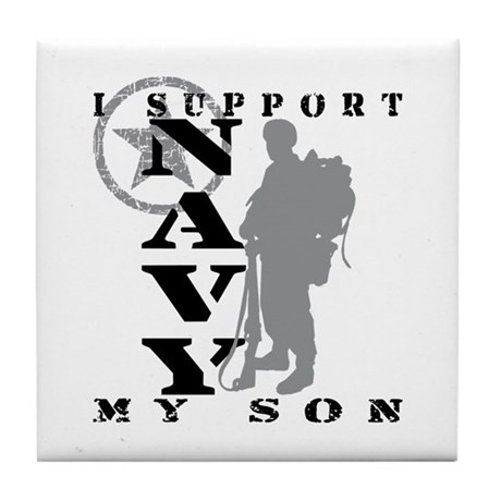 I Support Son 2 - NAVY Tile Coaster