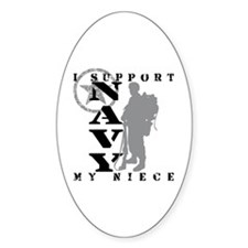 I Support Niece 2 - NAVY Oval Decal