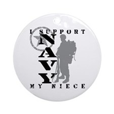 I Support Niece 2 - NAVY Ornament (Round)