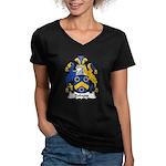 Dobyns Family Crest Women's V-Neck Dark T-Shirt