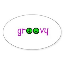 Groovy Peace Oval Decal