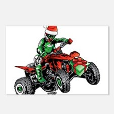 ATV Quad Christmas Racer Postcards (Package of 8)