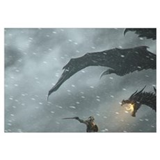 Warrior Fighting Dragon Poster