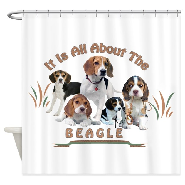 All about the beagle shower curtain by friskybizpets for Bathroom wall t shirts australia