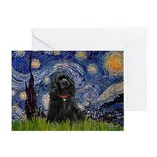 Starry/Cocker (blk) Greeting Card