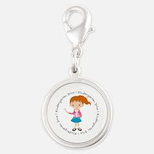 Cute Girl Kindergarten Diva Silver Round Charm