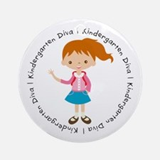 Cute Girl Kindergarten Diva Ornament (Round)