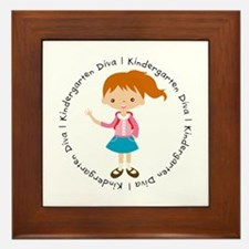 Cute Girl Kindergarten Diva Framed Tile
